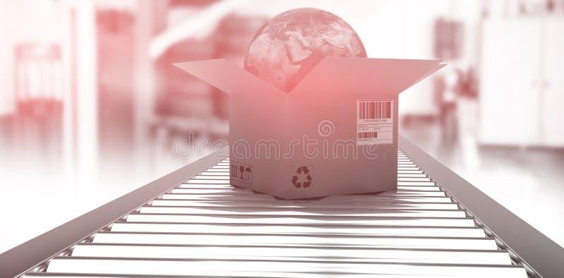 Samengesteld beeld van kartondoos met bol op 3d transportband stock illustratie