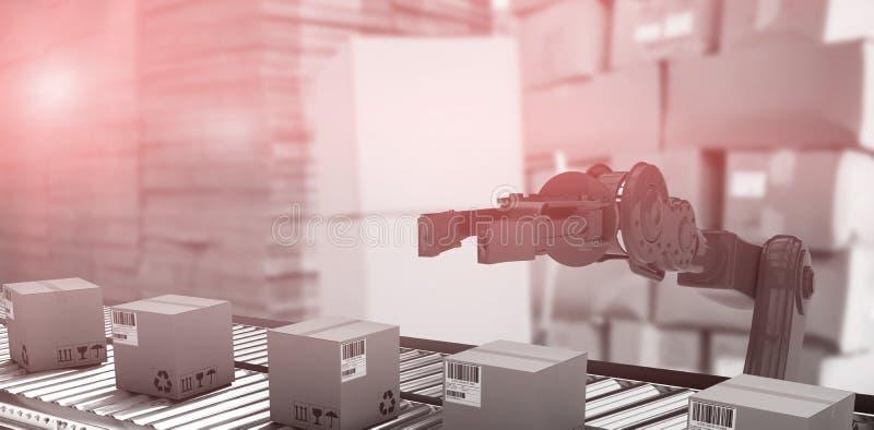 Samengesteld beeld van kartondozen op productielijn stock illustratie