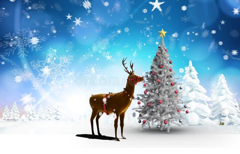 Samengesteld beeld van Kerstmisboom en rendier royalty-vrije illustratie