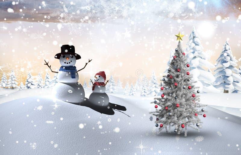 Samengesteld beeld van Kerstmisboom en sneeuwman vector illustratie