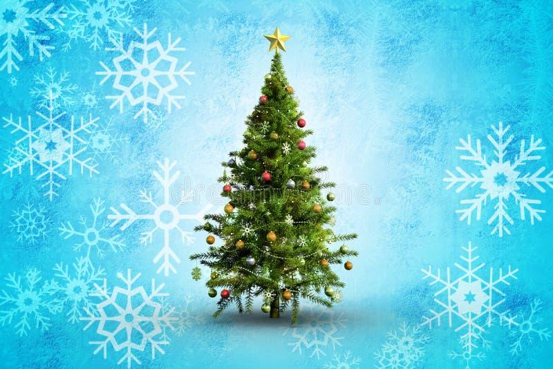 Samengesteld beeld van Kerstmisboom op witte achtergrond stock illustratie