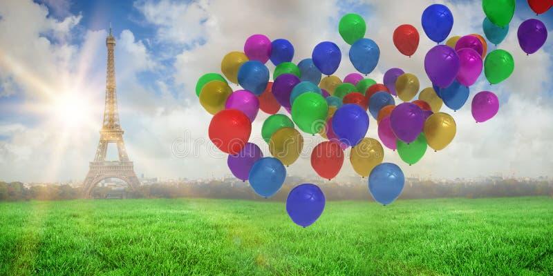 Samengesteld beeld van kleurrijke ballons stock illustratie