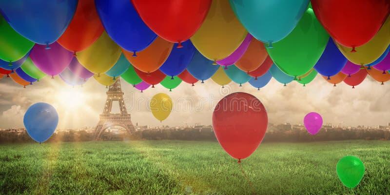 Samengesteld beeld van kleurrijke ballons royalty-vrije illustratie