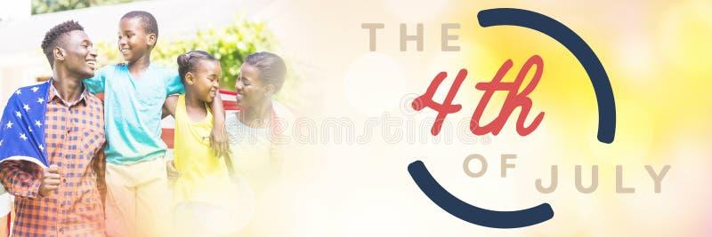 Samengesteld beeld van kleurrijke gelukkige vierde van juli-tekst tegen witte achtergrond vector illustratie