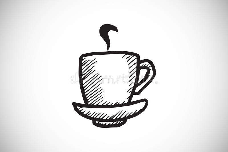 Samengesteld beeld van kop van koffiekrabbel met stoom royalty-vrije illustratie