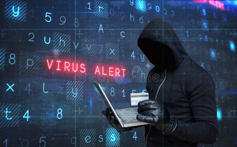 Samengesteld beeld van laptop en credir de kaart van de hakkerholding stock afbeeldingen