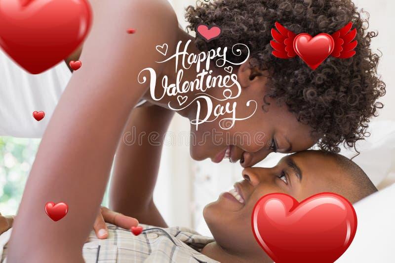 Samengesteld beeld van leuk valentijnskaartenpaar vector illustratie