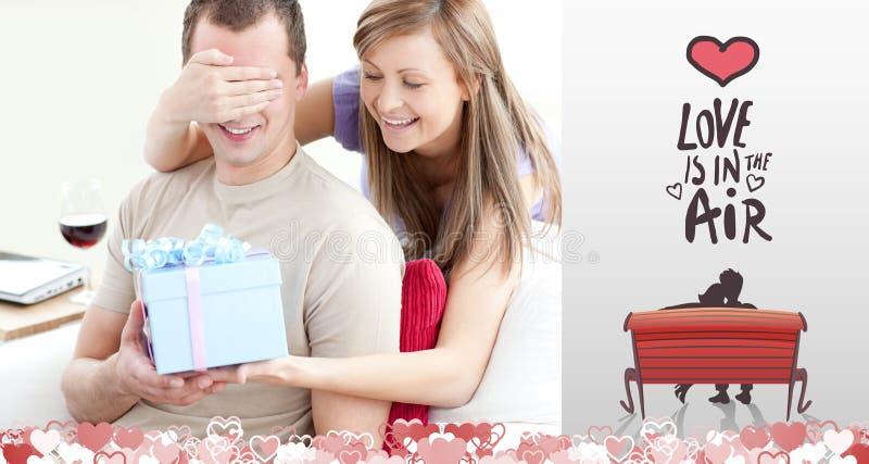 Samengesteld beeld van leuk valentijnskaartenpaar royalty-vrije illustratie