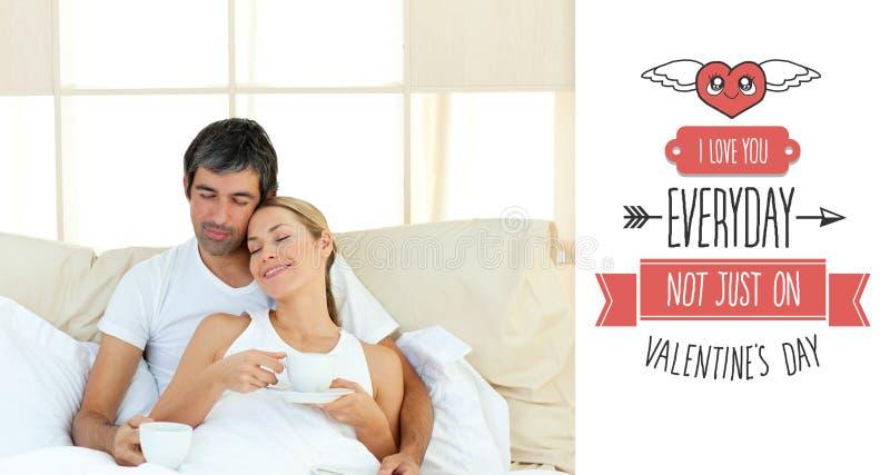 Samengesteld beeld van leuk valentijnskaartenpaar stock illustratie