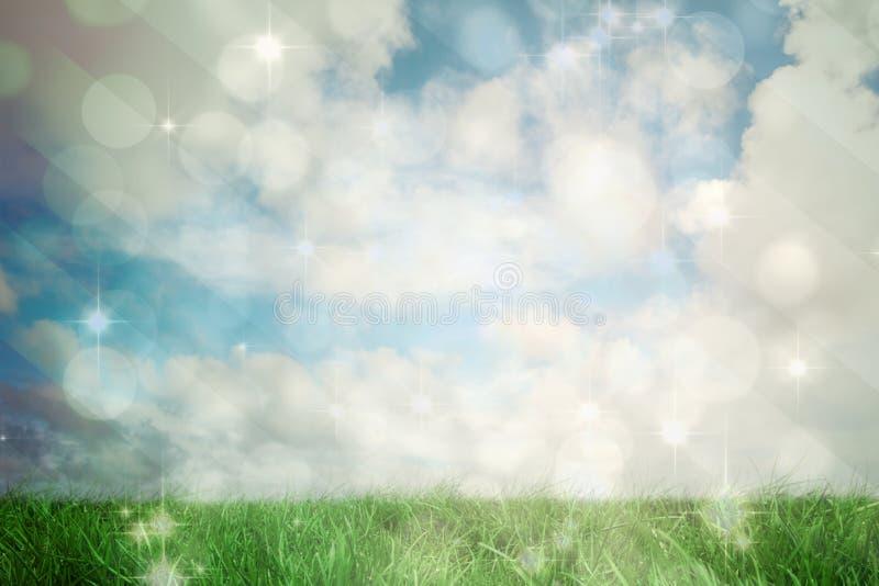 Samengesteld beeld van licht ontwerp die op groen flikkeren royalty-vrije illustratie