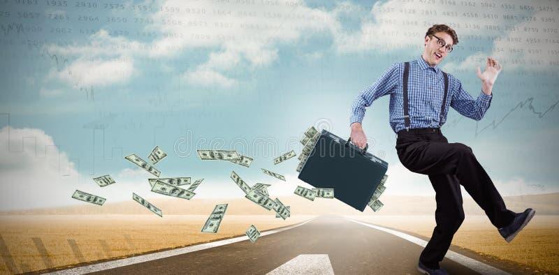 Samengesteld beeld van lopende zakenman royalty-vrije stock afbeelding