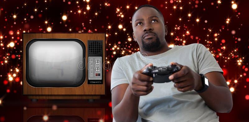 Samengesteld beeld van mens het spelen videospelletje tegen witte achtergrond royalty-vrije stock foto's