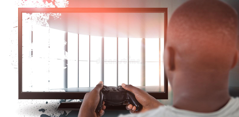 Samengesteld beeld van mens het spelen videospelletje tegen witte achtergrond royalty-vrije stock afbeeldingen