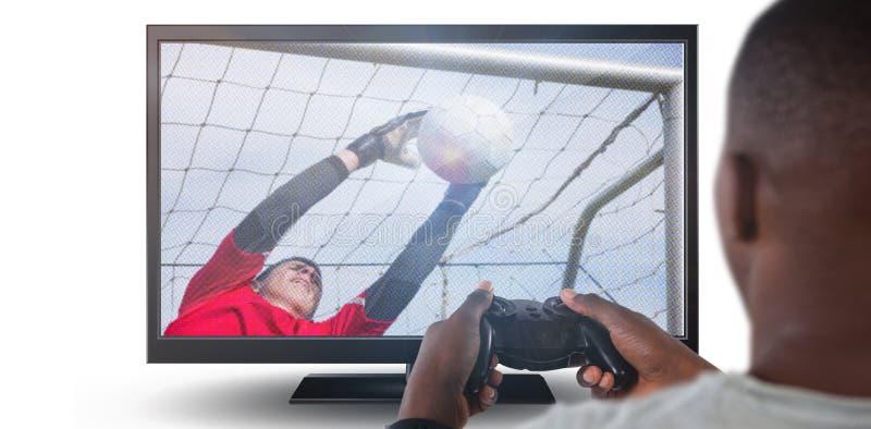 Samengesteld beeld van mens het spelen videospelletje tegen witte achtergrond stock afbeelding