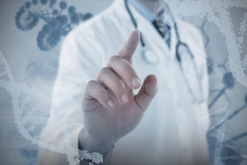 Samengesteld beeld van midsection van arts wat betreft het digitale scherm stock foto