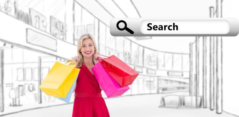 Samengesteld beeld van modieus blonde in rode kledingsholding het winkelen zakken stock afbeeldingen