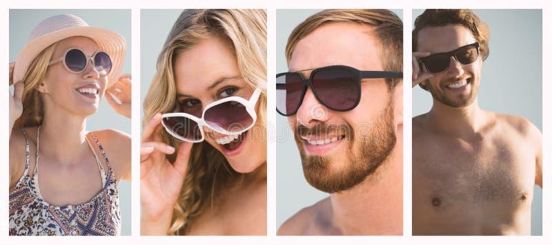 Samengesteld beeld van mooi meisje met strohoed en zonnebril royalty-vrije stock foto's