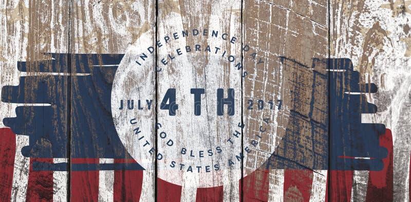 Samengesteld beeld van multi gekleurde gelukkige vierde van juli-tekst tegen witte achtergrond royalty-vrije illustratie