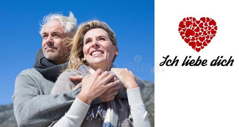 Samengesteld beeld van onbezorgd paar die in warme kleding koesteren royalty-vrije illustratie