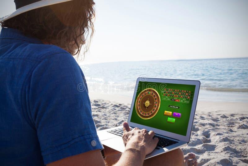 Samengesteld beeld van online roulettespel royalty-vrije stock foto's