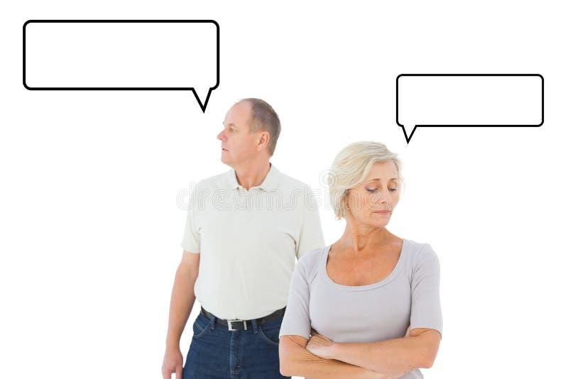 Samengesteld beeld van ouder paar die een argument hebben royalty-vrije illustratie
