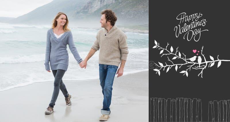 Samengesteld beeld van paarholding handen en het lopen bij strand vector illustratie
