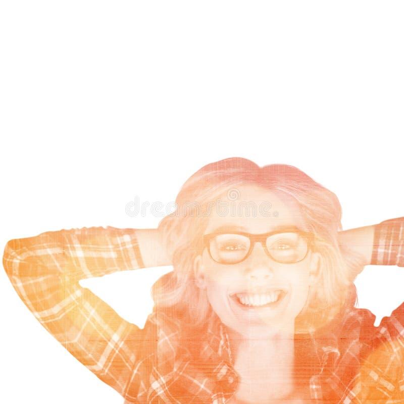 Samengesteld beeld van portret van schitterend glimlachend blonde hipster l royalty-vrije stock afbeelding