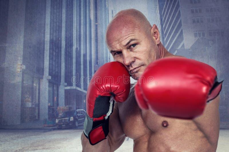 Samengesteld beeld van portret van bokser met het bestrijden van houding stock afbeelding