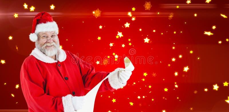 Samengesteld beeld van portret van Kerstman die en rol glimlachen de houden royalty-vrije stock fotografie