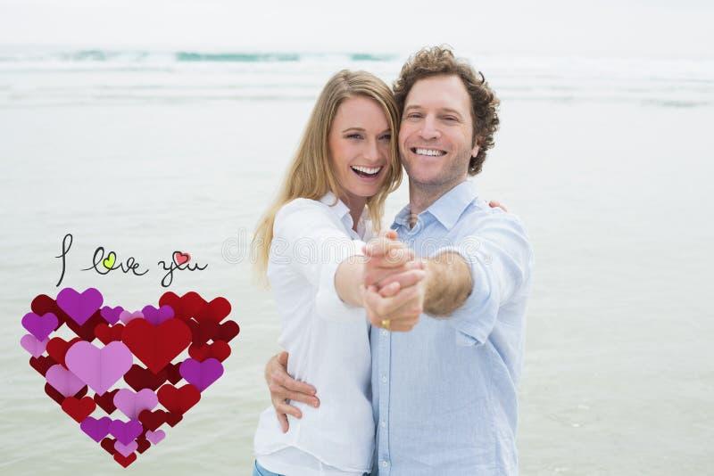 Samengesteld beeld van portret van vrolijk paar die bij strand dansen vector illustratie