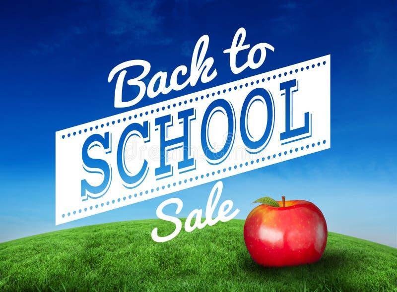 Samengesteld beeld van rode appel met terug naar schoolbericht stock illustratie