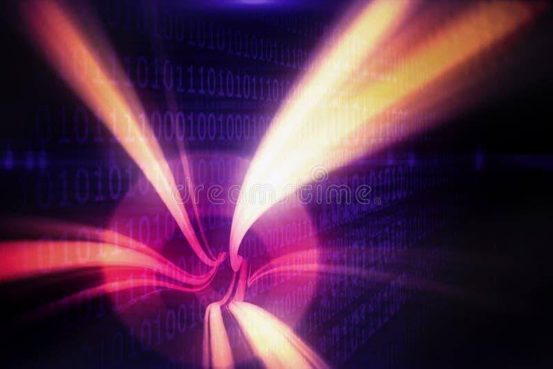 Samengesteld beeld van rode draaikolk met oranje licht vector illustratie