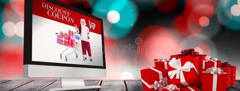 Samengesteld beeld van rode giften met witte boog stock illustratie