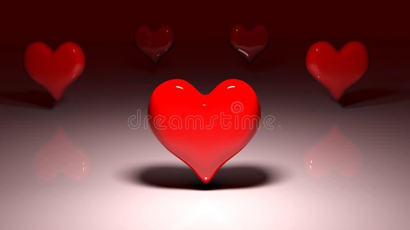 Samengesteld beeld van rode liefdeharten stock illustratie