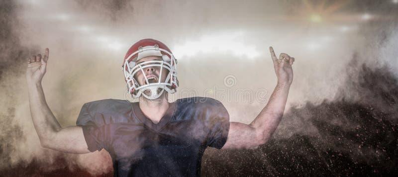 Samengesteld beeld van rugbyspeler het vieren terwijl het benadrukken royalty-vrije stock afbeelding