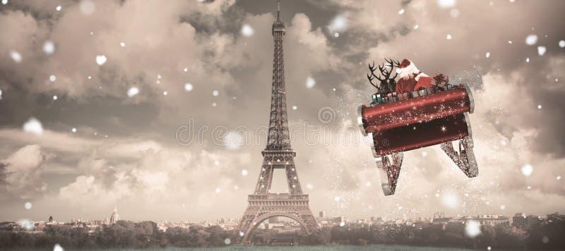 Samengesteld beeld van santa die zijn ar vliegen vector illustratie