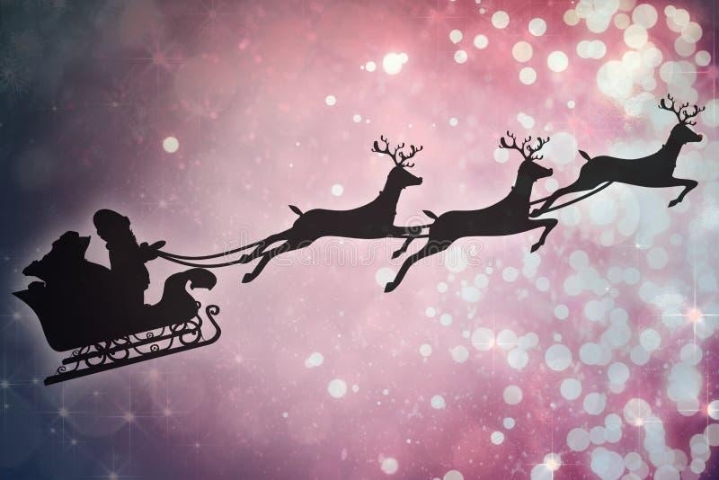 Samengesteld beeld van silhouet van de Kerstman en rendier royalty-vrije illustratie