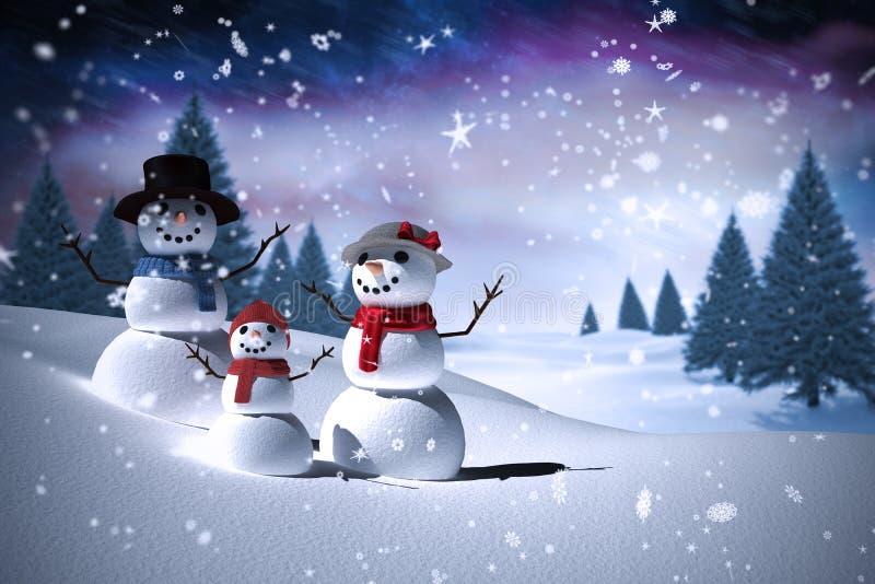 Samengesteld beeld van sneeuwmanfamilie vector illustratie