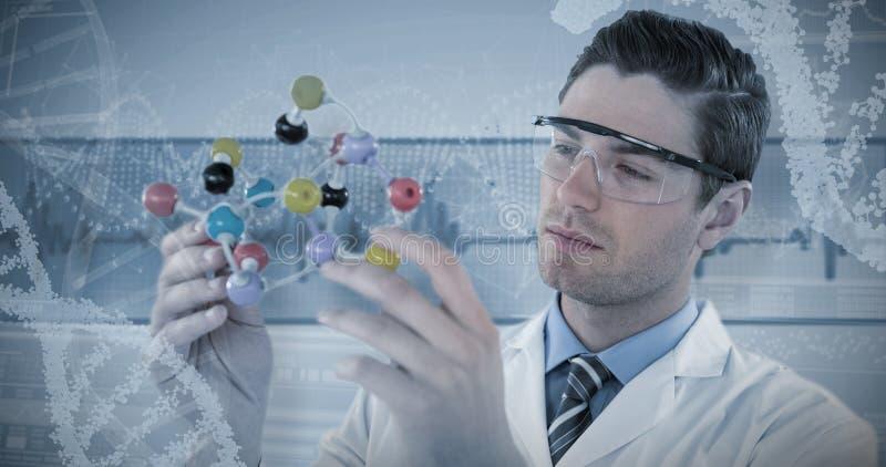 Samengesteld beeld van structuur van de wetenschapper de experimenterende molecule stock fotografie