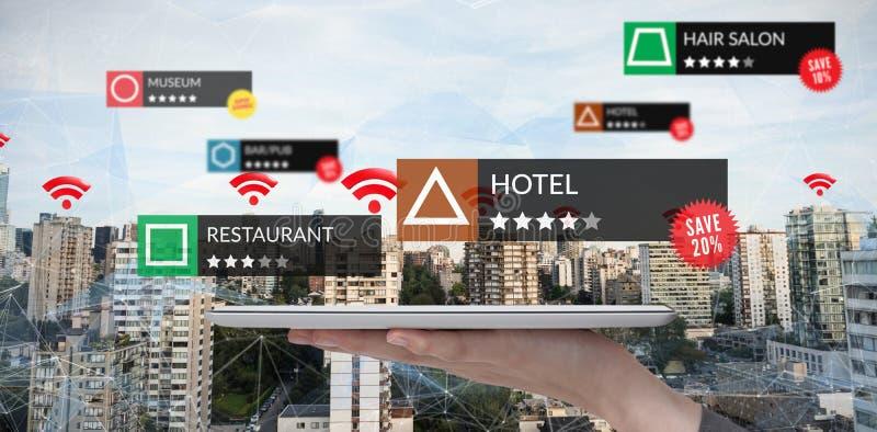 Samengesteld beeld van tablet met toepassingen stock foto's