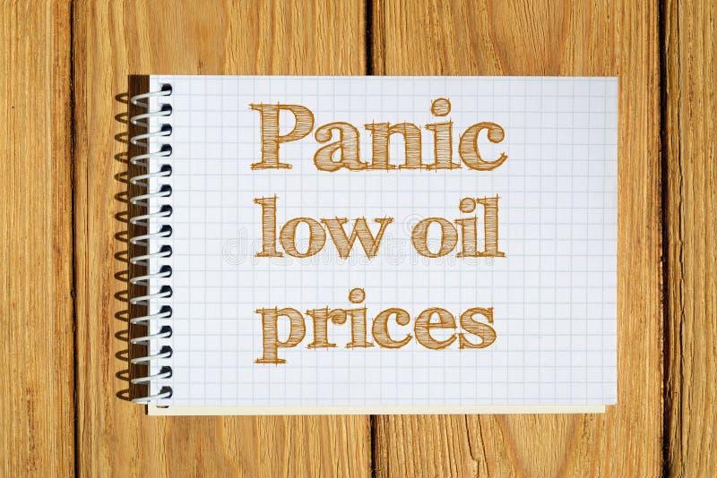 Samengesteld beeld van teksten van Paniek de lage olieprijzen vector illustratie