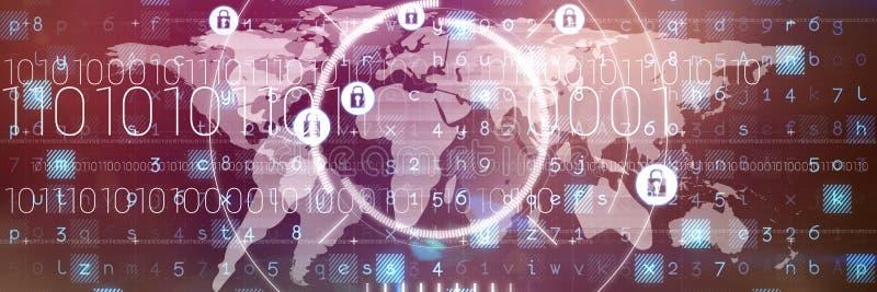 Samengesteld beeld van veiligheidsslot tegen wereldkaart stock illustratie