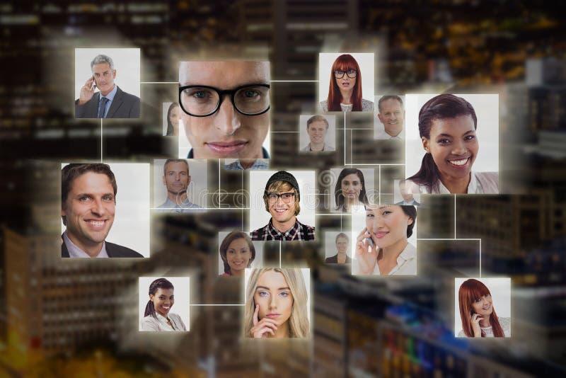 Samengesteld beeld van verbinding tussen mensen stock afbeeldingen