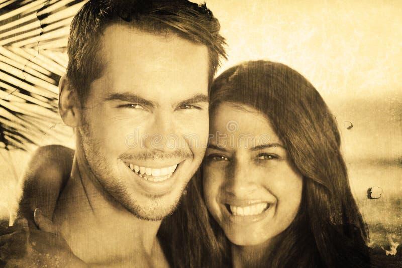 Samengesteld beeld van vrolijk houdend van paar die vakantie hebben stock illustratie
