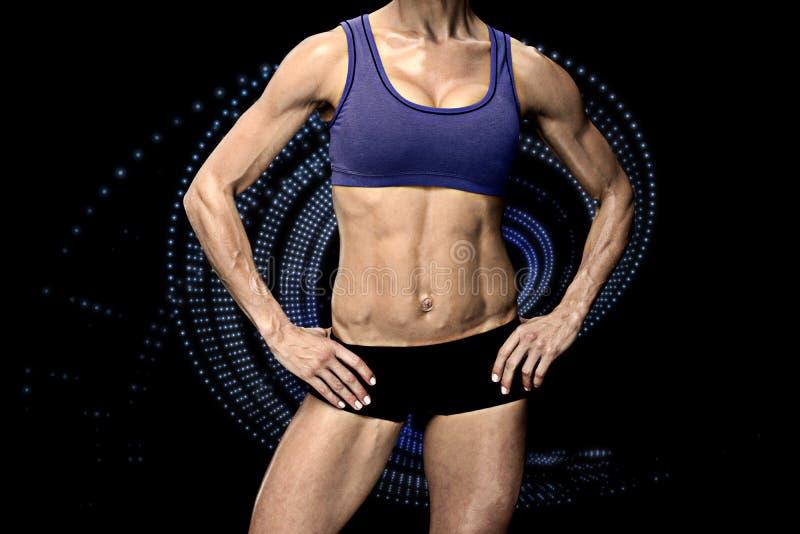 Samengesteld beeld van vrouwelijke bodybuilder royalty-vrije illustratie