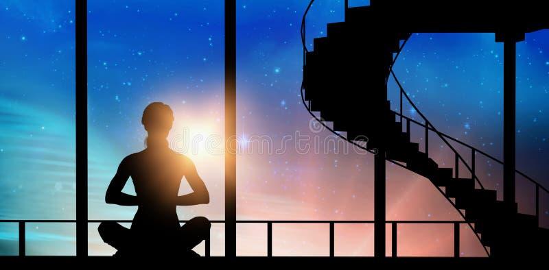 Samengesteld beeld van vrouwelijke het praktizeren meditatie stock foto's