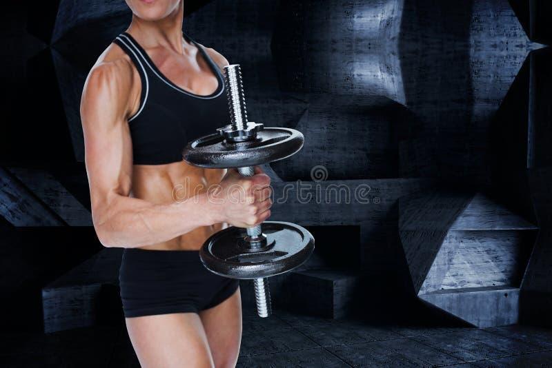 Samengesteld beeld van vrouwelijke sterke bodybuilder die grote zwarte domoor houden royalty-vrije illustratie