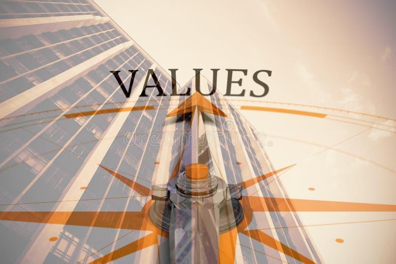 Samengesteld beeld van waarden tegen kompas royalty-vrije illustratie