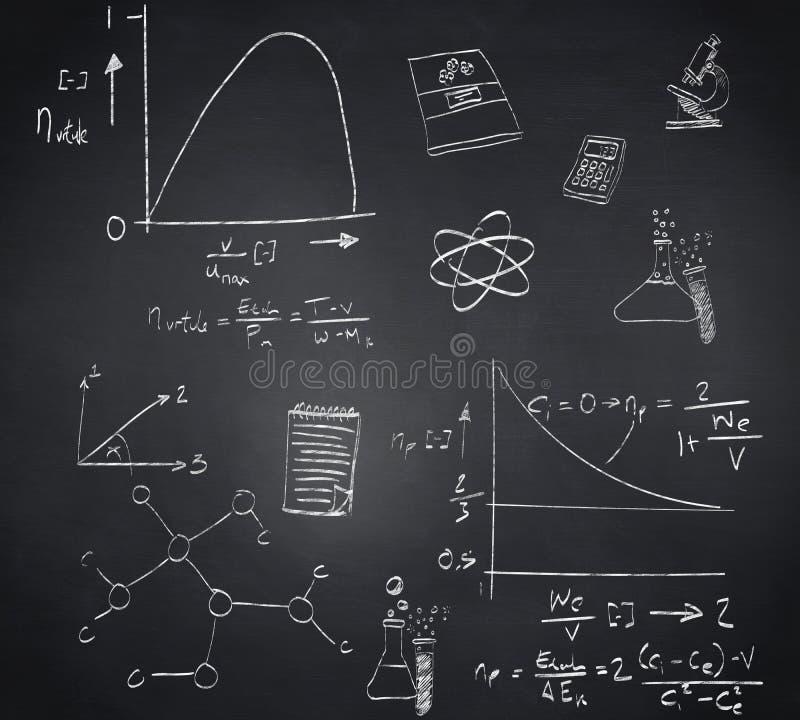 Samengesteld beeld van wiskunde en wetenschapskrabbels vector illustratie