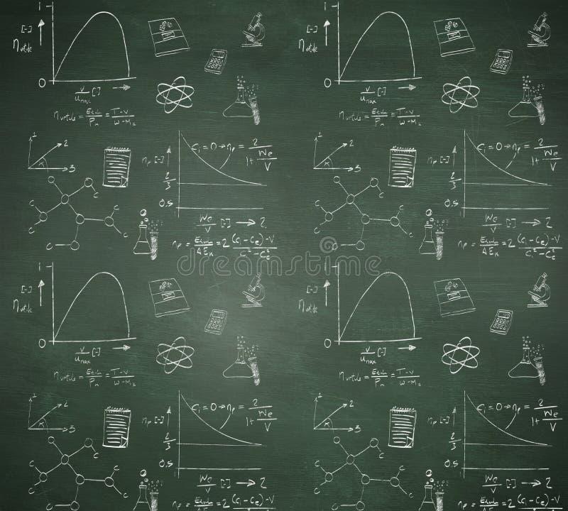 Samengesteld beeld van wiskunde en wetenschapskrabbels stock illustratie